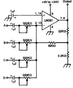 4 Channel Audio Mixer Circuit Using Lm381 on led power supply wiring diagram