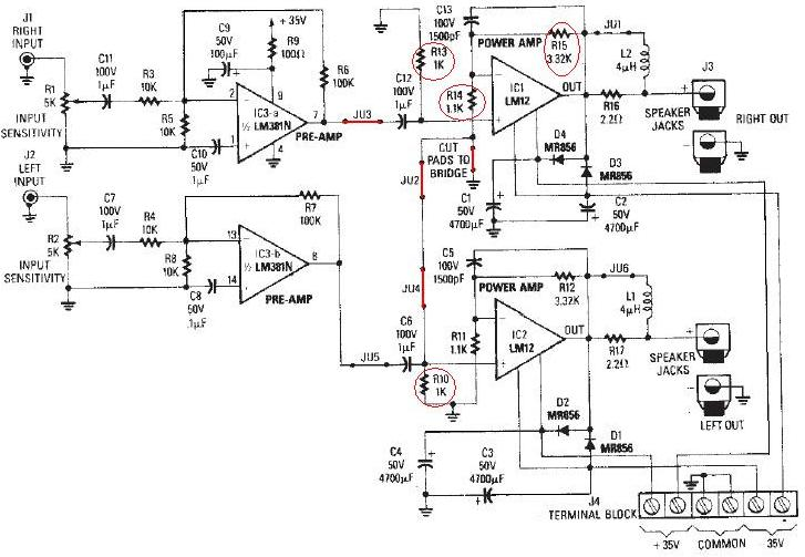 lm12 audio amplifier circuit diagram electronic project