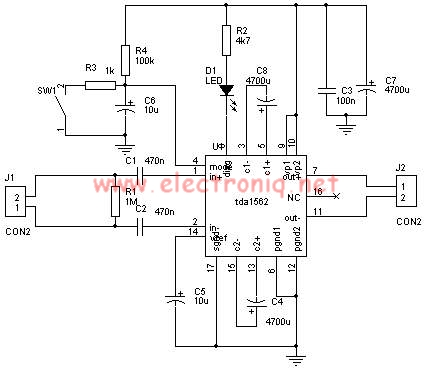 TDA1562 power amplifier circuit project