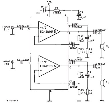 20 watts car amplifier circuit using TDA2005 integrated circuit
