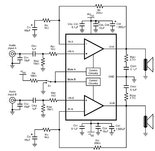 lm4780 120 watt amplifier circuit diagram electronic project rh electroniccircuitsdesign com High Power Amplifier Circuit Diagram Actaul Body Amp Audio Amplifier Schematic Diagram