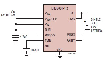 single 2A cell lithium polymer battery charger schematic circuit design using LTM8061 charger IC