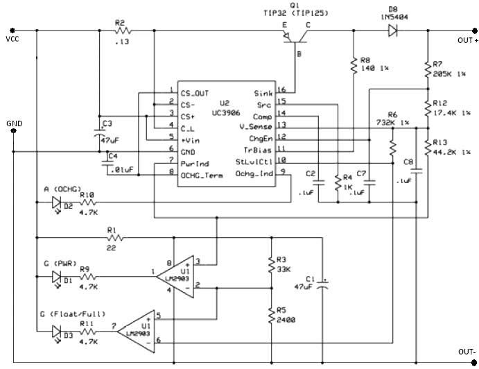 UC3906 battery charger controller circuit diagram design