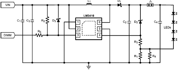 Constant current LED driver using LM3410 schematic circuit diagram