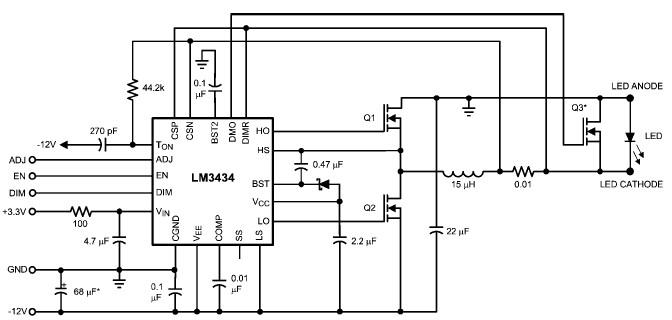 10a high power led driver circuit design using lm3434