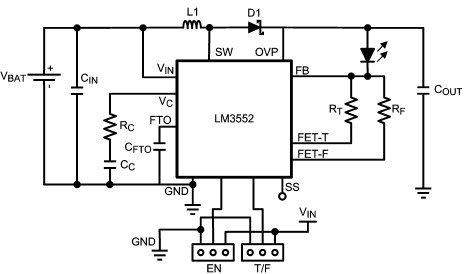 LM3552 white led driver circuit diagram