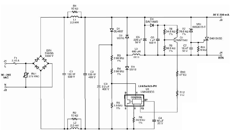 12w led driver circuit using lnk405eg driver ic rh electroniccircuitsdesign com power led driver circuit diagram dimmable led driver circuit diagram