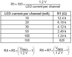 Constant current white LED driver components using CAT4106