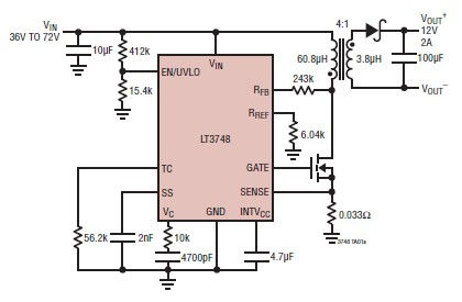 12 volt switching power supply circuit design using lt3748 switching rh electroniccircuitsdesign com