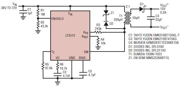 15 volts power supply electronic circuit project using lt3512 rh electroniccircuitsdesign com