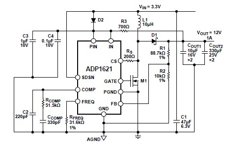 3 to 12 volts inverter using ADP1621 circuit