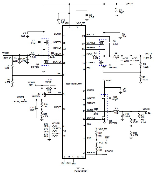 Isl9440 Quad Output Circuit Power Supply Design