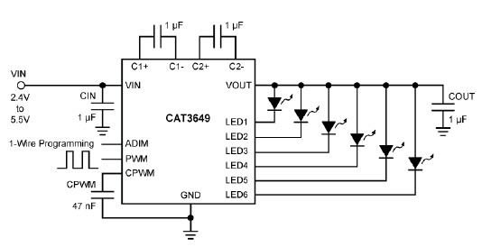 CAT3649 charge pump LED driver circuit design