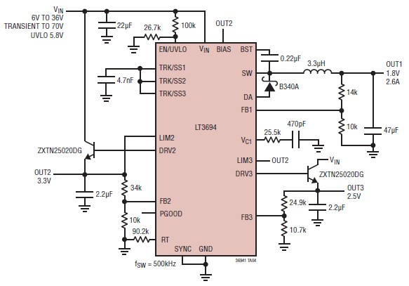 Power distribution system design using LT3694 DC DC converter