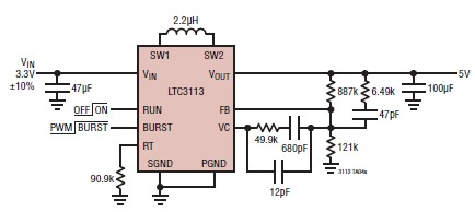 5 volts power supply circuit design using LTC3113 DC DC converter