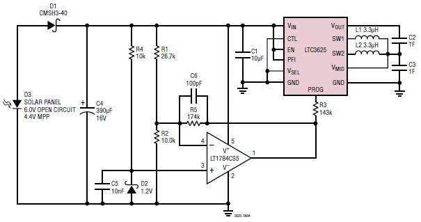 supercapacitor charger electronic project using LTC3625 IC