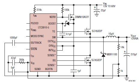 12 volt switching power supply using LTC3810