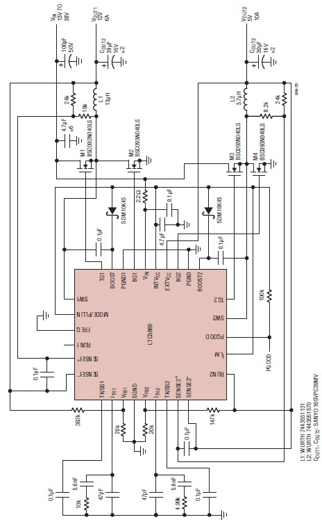 LTC3869 12 volt and 5 volt high current power supply circuit on