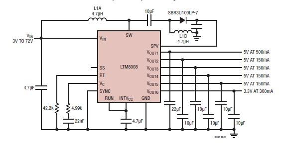Six output DC regulator sepic design using LTM8008