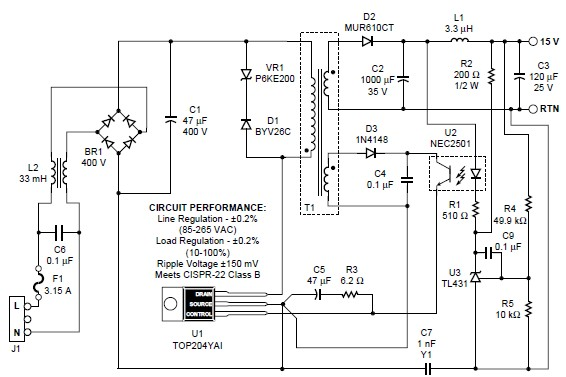 top204 15v switching power supply circuit diagram