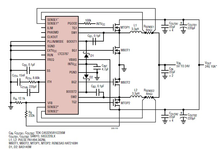 24v power supply 10A circuit design with LTC3787