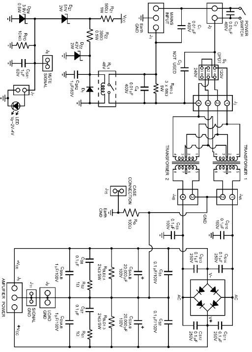 amplifier power supply electronic circuit project design