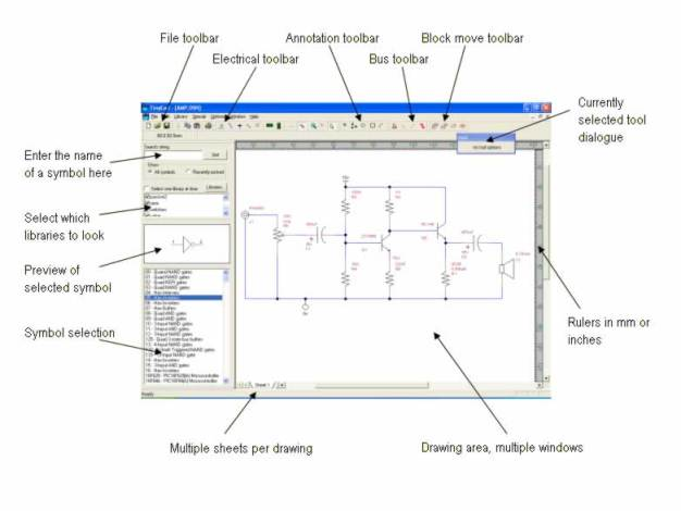 tinycad schematic capture software review and tutorial rh electroniccircuitsdesign com Electrical Schematic Software Open Source Open Source Schematic Capture