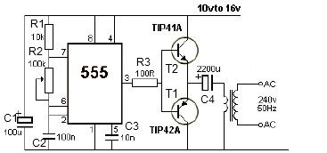 12v Power Inverter Circuit Using 555 Timer on voltage converter circuit diagram