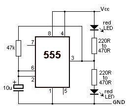 555 Timer Led Flasher Circuit on 555 timer schematic diagram