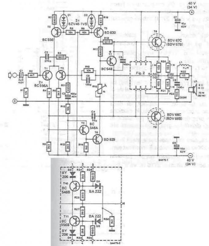 Pure Sine Wave Inverter Circuit Diagram Circuit Diagram together with 20 Watt Fluoro Inverter Used Tip3055 likewise 70 90 Watt Power  lifier Circuit Using Transistors likewise 30 Power  lifier With Tda2030 additionally 2n3055 Power Supply. on 2n3055 amplifier schematic