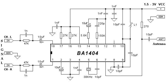BA1404 FM Stereo modulator circuit design electronic project