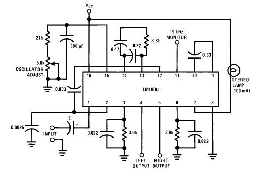 LM1800 FM Stereo Demodulator circuit design electronic project