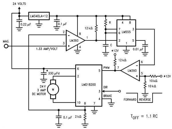 lmd18200 motor controller electronic project schematic  dc motor speed  controller circuit