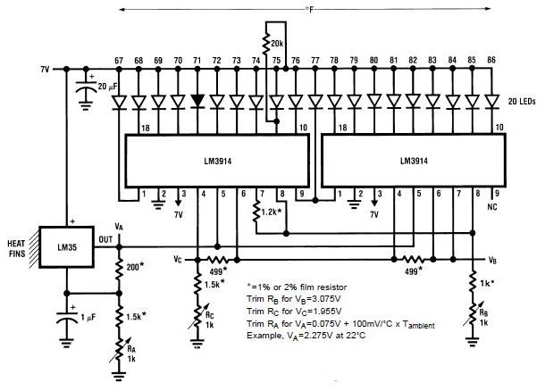 Lm3914 Lm35 Electronic Thermometer Circuit Diagram Project