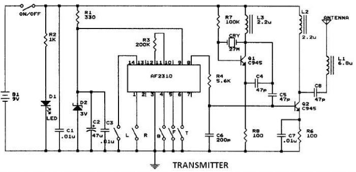 af radio controlled motor circuit design project, schematic