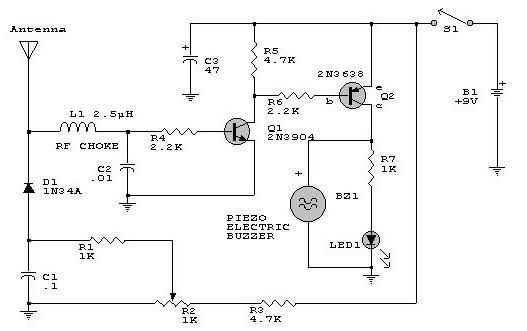 rf detector circuit electronic project using transistors, circuit diagram