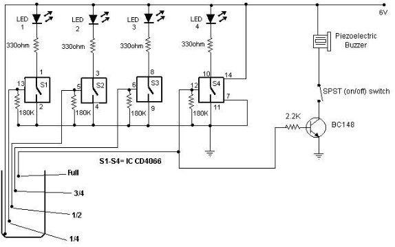 Water Level Detector Circuit Diagram Powerking