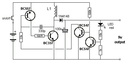 1.5v to 9v dc converter circuit Dc Converter Circuit Schematic on