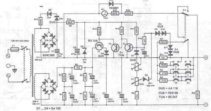 10 300v variable power supply circuit design diagram electronic project