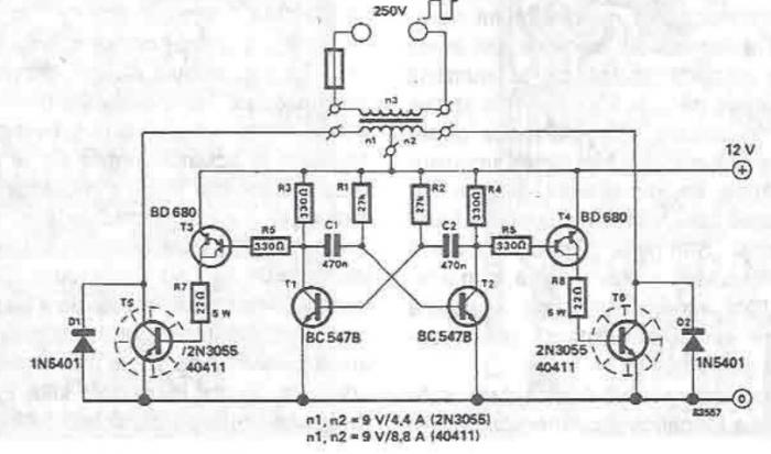 12 to 250V converter circuit diagram electronic project