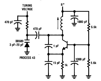 50 300 MHz Colpitts oscillator circuit diagram