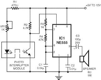 detector using 555 timer circuit, Block diagram