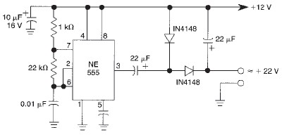 Voltage doubler circuit using 555 timer