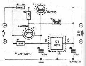 5 volts high current power supply using 7805 voltage regulator