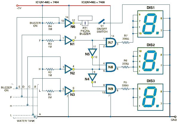 Water level indicator using 7-segment display circuit design schematic