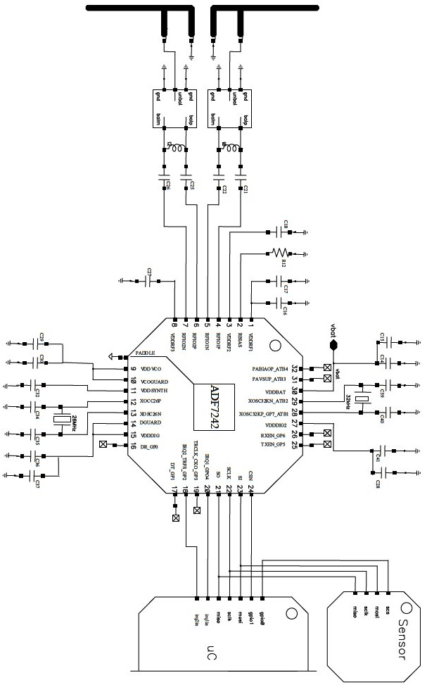 adf7242 low power transceiver circuit design
