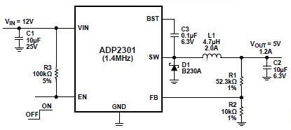 12V step-down dc converter circuit ADP2301