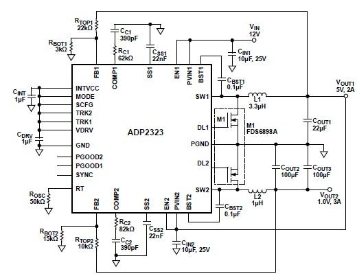 ADP2323 high current DC DC converter circuit design electronic project