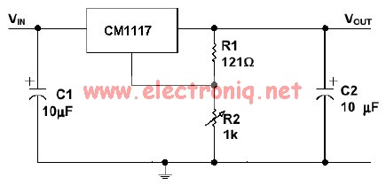Cm1117 voltage regulator adjustable