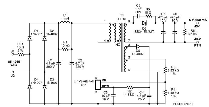 cv  cc charger circuit diagram designed using linkswitch